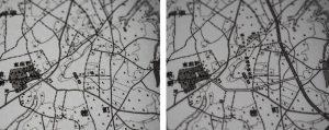 大穂町(現在のつくば市大穂)付近 左:1960(昭和35)年、右:1972(昭和47)年 (国土地理院2万5千分の1地形図「上郷」の一部を撮影)